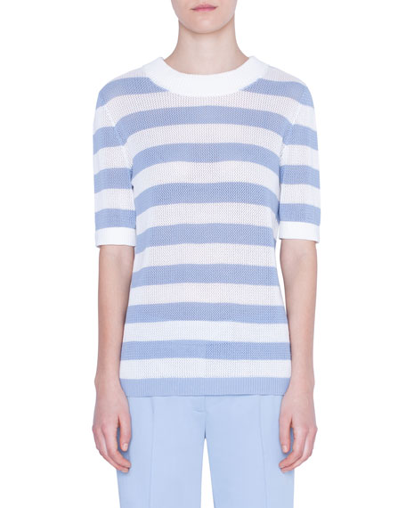Akris punto Striped Mesh-Inset Sweater