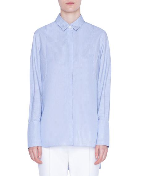 Akris punto Striped Button-Front Tunic Blouse