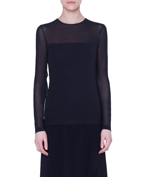 Akris punto Long-Sleeve Tulle-Illusion Shirt