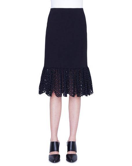 Akris punto Jersey Lace Flounce Pencil Skirt