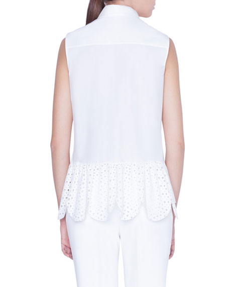 Akris punto Sleeveless Button-Front Shirt with Embroidered-Peplum Back