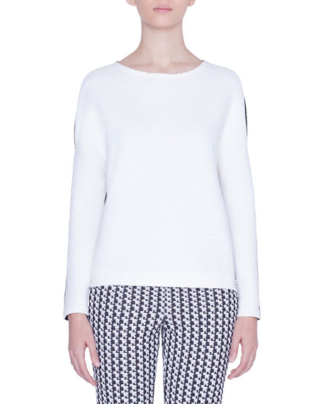 Akris punto Bicolor Boat-Neck Side-Zip Sweater