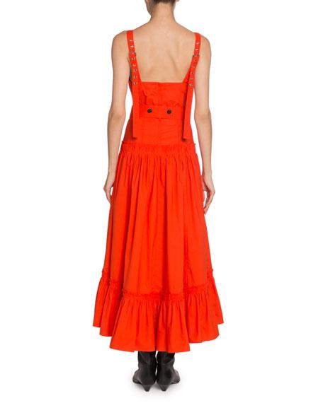 Proenza Schouler Tiered-Poplin V-Neck Maxi Dress