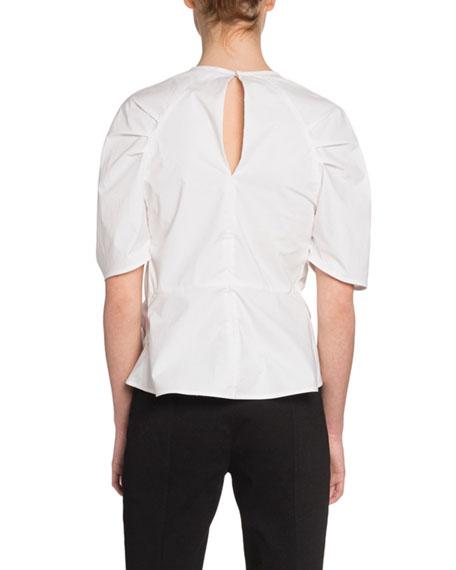Proenza Schouler Short-Sleeve Crewneck Tie-Front Top