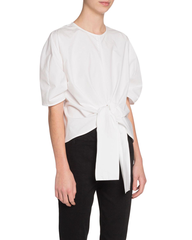 Short Sleeve Crewneck Tie Front Top by Proenza Schouler