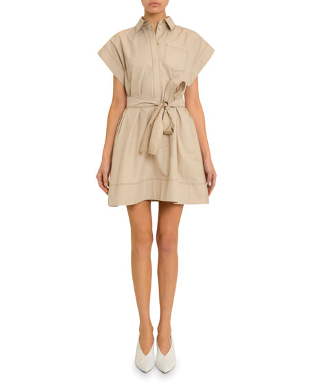 Givenchy Short-Sleeve Stitched Cotton Shirtdress