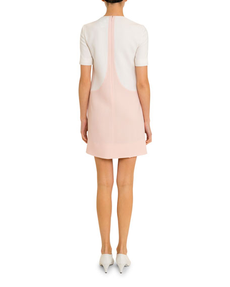 Givenchy Short-Sleeve Bicolor Shift Dress