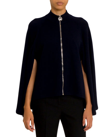 Givenchy Cashmere-Wool Cape Zip-Front Sweater