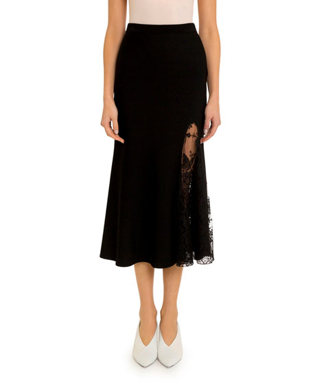 Givenchy Lace-Inset Midi Skirt