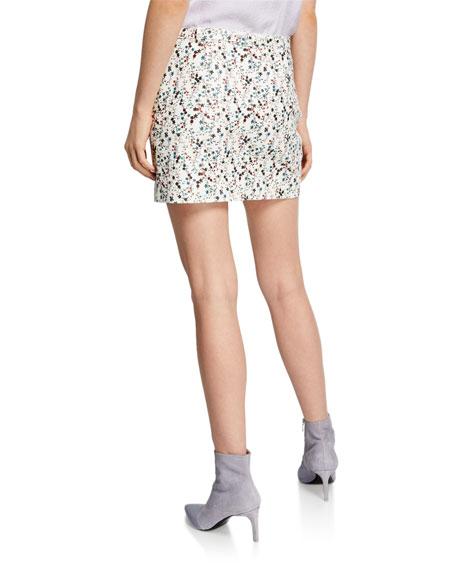 Nour Hammour Ondine Floral Print Leather Mini Skirt