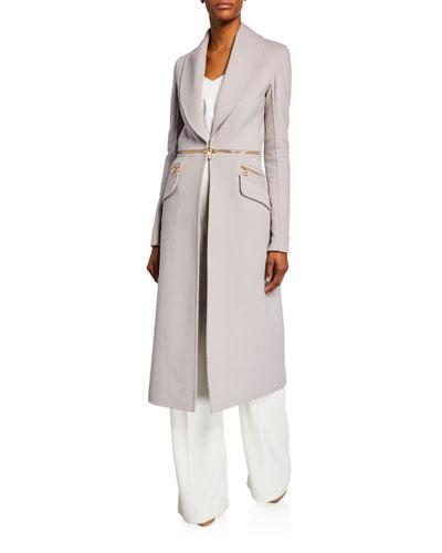 Convertible Zip-Waist Wool Coat