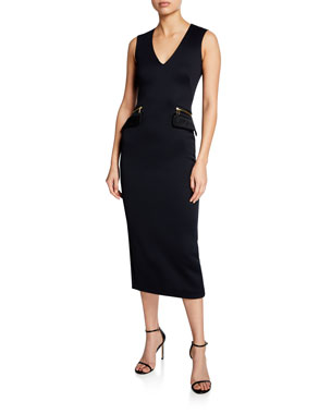 decac3fce0b Brandon Maxwell Sleeveless V-Neck Zip-Pocket Midi Dress