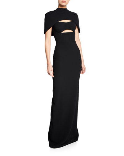 Cape-Sleeve Bustier Cutout Gown