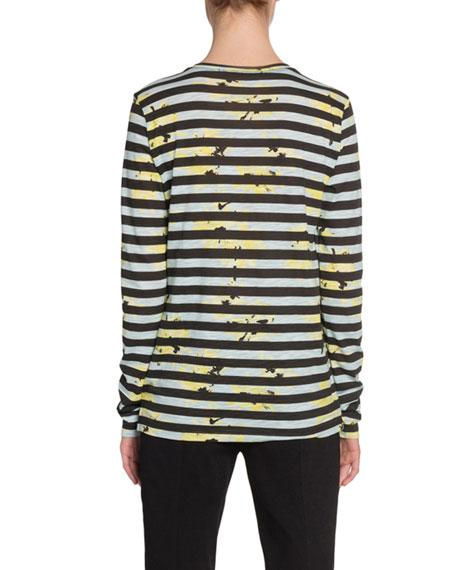 Proenza Schouler Long-Sleeve Splattered-Floral-Print T-Shirt, Faded Blue