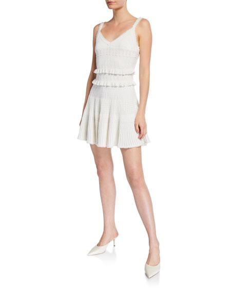 Herve Leger Ruffled Pointelle Mini Dress