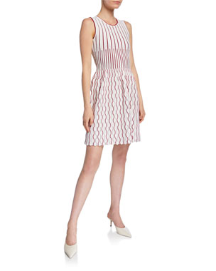 bf9c0351c8b Herve Leger Piped Scallop-Striped Bandage Dress