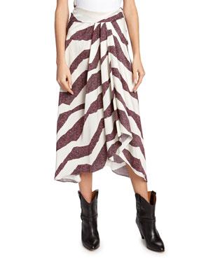 5e5629d27c36 Isabel Marant Rebeca Zebra-Print Asymmetric Skirt