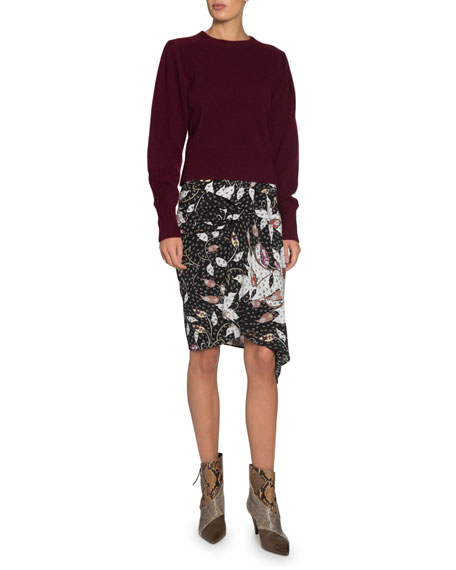 Isabel Marant Roly Tiered Asymmetrical Printed Skirt