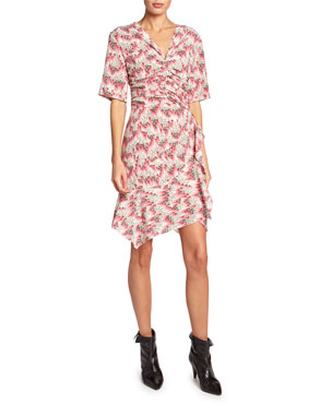 65fac7ab142 Isabel Marant Arodie Short-Sleeve Abstract-Print Dress