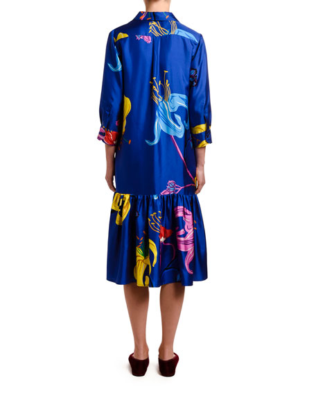 Double J Getting My Croissant Printed Silk Shirtdress