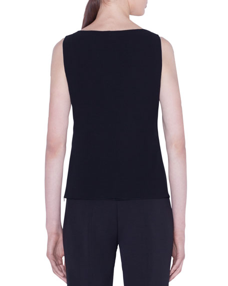 Akris Silk Georgette Scoop-Neck Tank