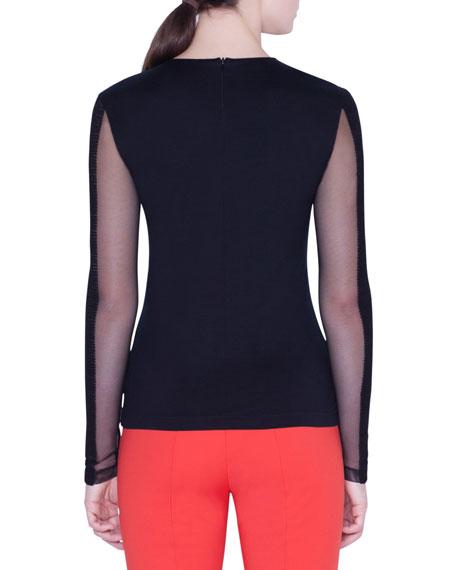 Akris Tulle-Sleeve V-Neck T-Shirt