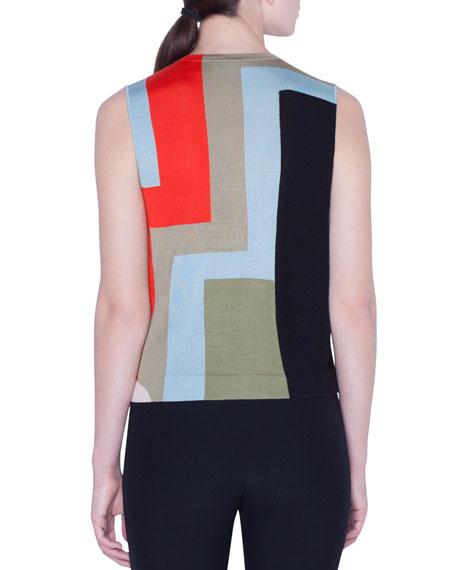 Akris Colorblock Indian Summer Intarsia Cashmere/Silk Tank