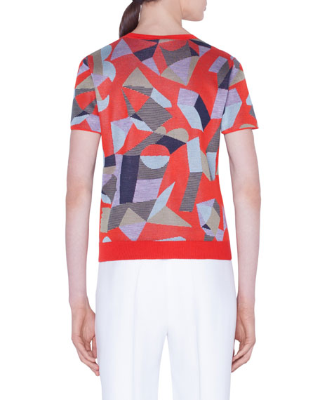 Akris Cashmere-Silk Indian Summer Jacquard Short-Sleeve Sweater