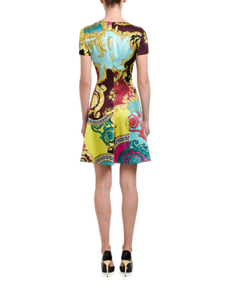Versace Short-Sleeve Multicolored Dress