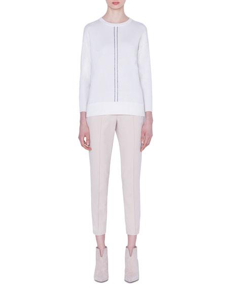 Akris Cashmere/Silk Striped-Front Sweater