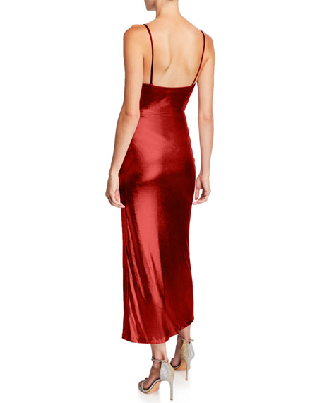 Galvan Sequin V-Back Midi Slip Dress