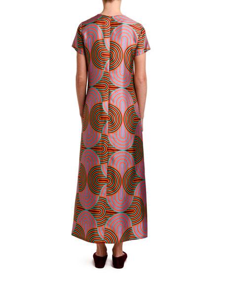 Double J Short-Sleeve Silk Maxi Dress