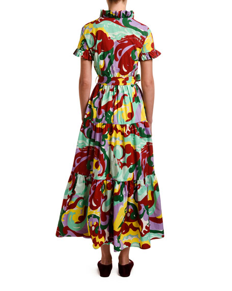 Double J Abstract Floral Short-Sleeve Shirtdress