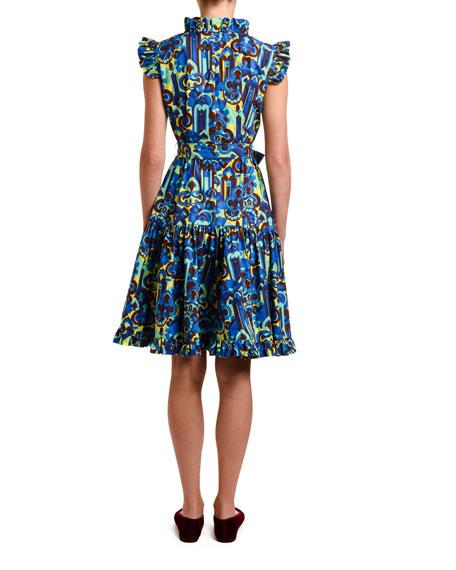 Double J Short & Sassy Geometric Print Ruffled Poplin Dress