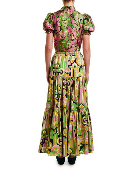 Double J Shortcake Puff-Sleeve Silk Popover Shirt