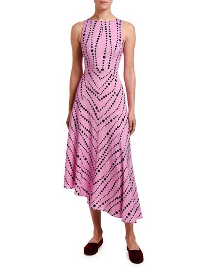 Double J Pina Sleeveless Pearl Print Asymmetric Dress