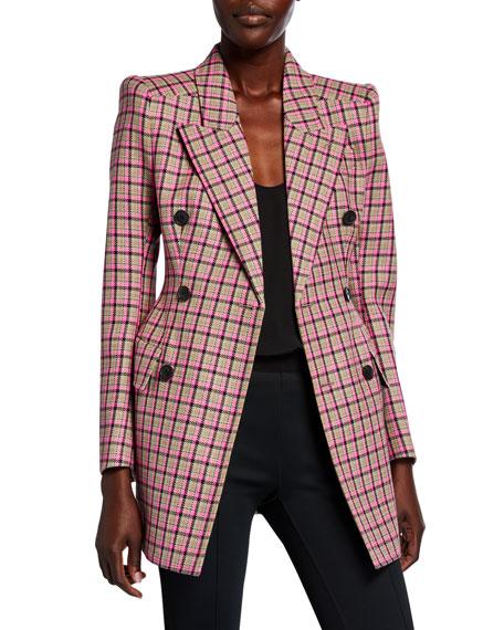 Balenciaga Checked Wool Hourglass Blazer