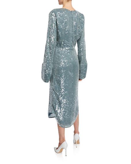 Sally LaPointe Dolman-Sleeve High-Neck Dress