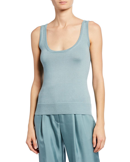 Sally LaPointe Cashmere/Silk Knit Tank Top