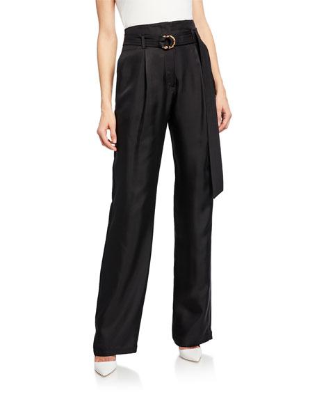 Sally LaPointe Belted High-Waist Silk Twill Pants, Black