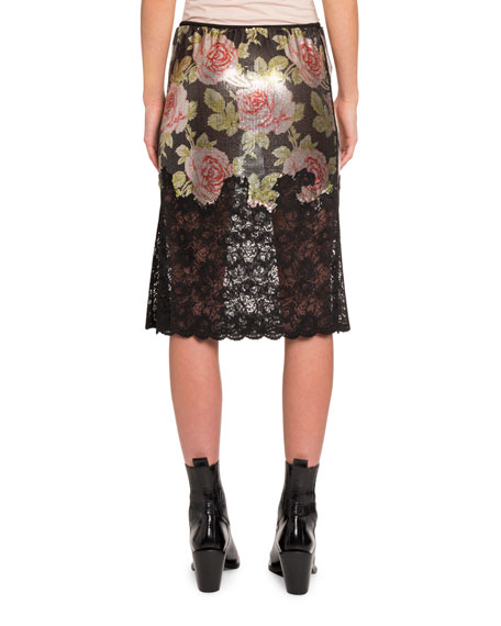 Paco Rabanne Floral Lace and Chain Mesh Skirt