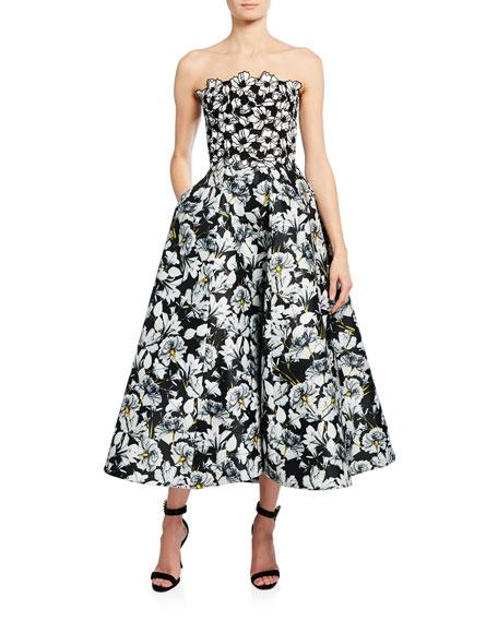Monique Lhuillier Floral-Print Strapless Mikado Gown with Lace
