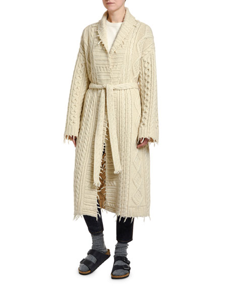 Alanui Fisherman Knit Cardigan Coat