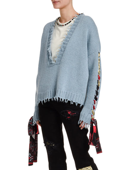 Alanui Cropped Cashmere Sweater with Silk Lacing