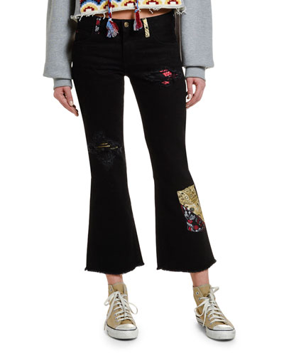 Flared Rip & Repair Jeans with Silk Insert