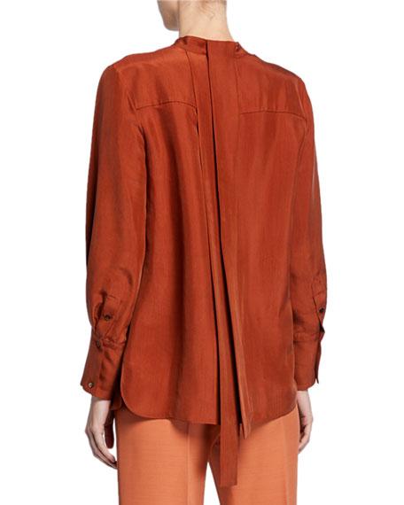 Partow Roz Mandarin-Neck Silk Tunic