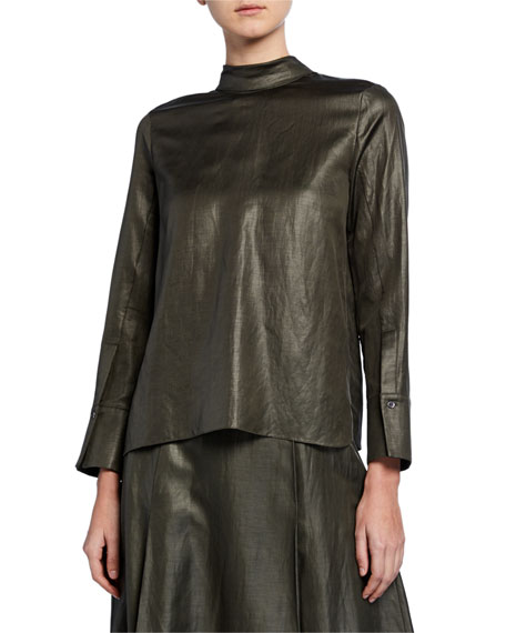 Partow Everett Shiny-Coated Linen Blouse