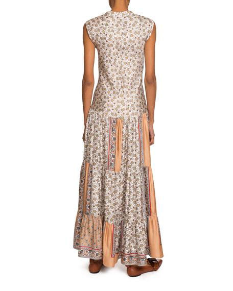 Chloe Bandana-Print Silk Tiered Maxi Dress