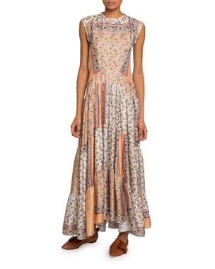 5e1b6501dc9 Chloe Bandana-Print Silk Tiered Maxi Dress