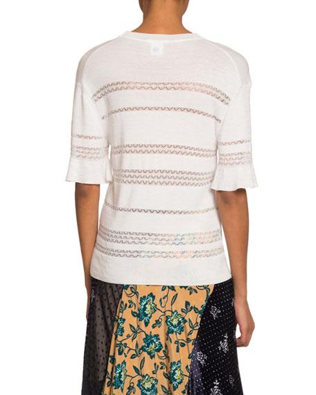Chloe Short-Sleeve Lace-Stripe Sweater